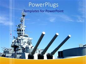 PowerPlugs: PowerPoint template with naval gun ship with blue sky, military, navy