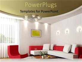 PowerPlugs: PowerPoint template with neatly arranged Sitting room with red and white couches