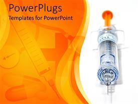 PowerPlugs: PowerPoint template with needle and syringe with capsules and medical instruments faded in background