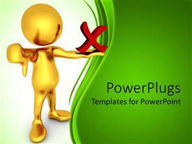 PowerPlugs: PowerPoint template with negativity metaphor with gold person giving thumbs down and holding red X