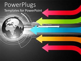 PowerPlugs: PowerPoint template with neon arrows pointing to black and white globe world Earth