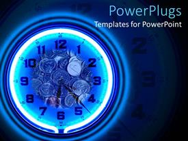 PowerPoint template displaying neon blue clock with coins on a black background