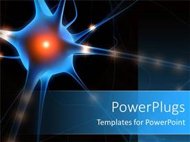 PowerPlugs: PowerPoint template with a nerve cell with blackish background and place for text