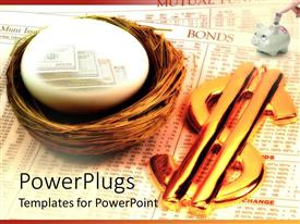 PowerPlugs: PowerPoint template with nest egg with hundred dollar bills next to gold dollar sign and finger putting money in piggy bank