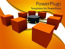 PowerPlugs: PowerPoint template with a network of blocks on a white and orange background