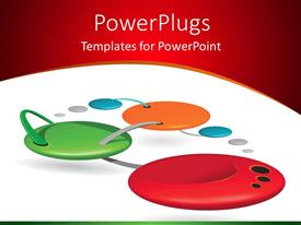 PowerPlugs: PowerPoint template with network connections abstract shapes on white and red background