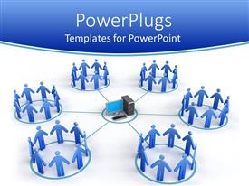 PowerPlugs: PowerPoint template with network with desktop computer in middle circle connected to six circles filled with blue figures