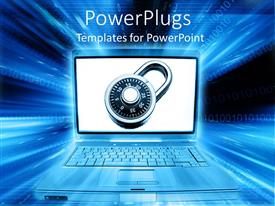 PowerPoint template displaying network Internet security with padlock on laptop screen, binary code 3D background