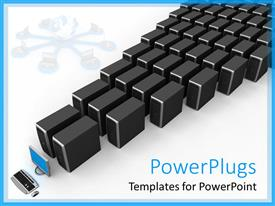 PowerPlugs: PowerPoint template with network servers lined up with desktop computer, IT