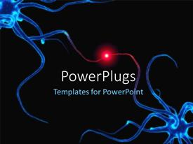 PowerPoint template displaying neuron cells with red highlighted spot over dark background