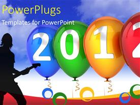 PowerPlugs: PowerPoint template with a silhouette of a man with a guitar and a '2012' text