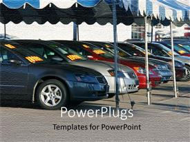 PowerPoint template displaying new cars in a line under large umbrella pavilions at sports car show, car showroom outdoors