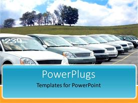 PowerPoint template displaying new cars parked in car dealer parking with trees in the background and grass with blue sky