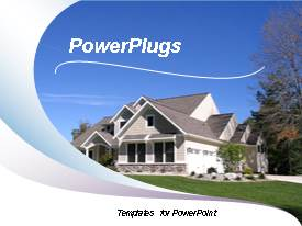 PowerPlugs: PowerPoint template with new construction house with wave pattern background