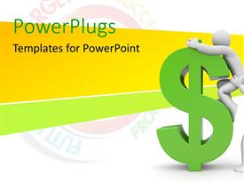 PowerPlugs: PowerPoint template with a character helping another on top of a green dollar sign