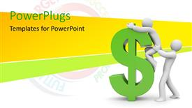 PowerPoint template displaying a character helping another on top of a green dollar sign
