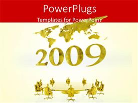 PowerPoint template displaying new year 2009 with world map and business people having round table meeting