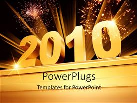 PowerPlugs: PowerPoint template with the new year of 2010 with fireworks in the background