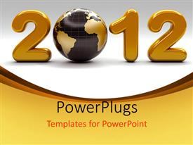 PowerPlugs: PowerPoint template with a huge golden 3D text that spell out '2012'