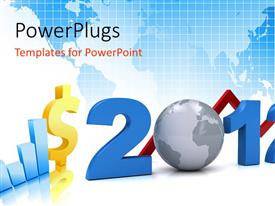 PowerPlugs: PowerPoint template with business graphs for year 2012 with world map in background
