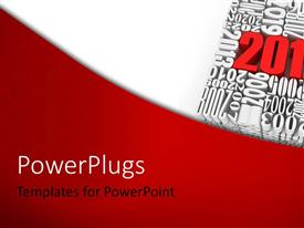 PowerPlugs: PowerPoint template with a text that spells out the word '2012' on a red and white colored background