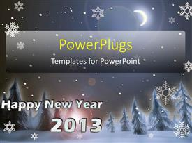 PowerPoint template displaying new year 2013 concept, with christmas trees