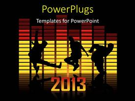 PowerPoint template displaying new year 2013, dancing friends