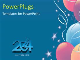 PowerPlugs: PowerPoint template with new year 2014 depiction with white stars and balloons on blue background