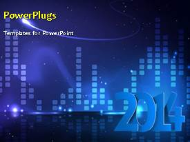 PowerPlugs: PowerPoint template with new year 2014 depiction with winter snow over blue background