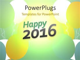 PowerPoint template displaying new year 2016 concept, festive background with colorful balloons