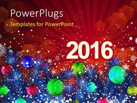 PowerPlugs: PowerPoint template with new Year 2016 with decoration of christmas balls and snowflakes