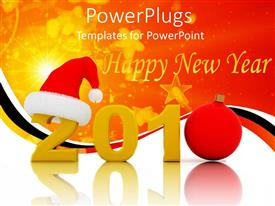 PowerPlugs: PowerPoint template with new year celebration with 2010 text and Santa cap