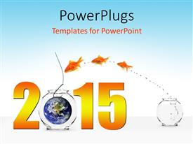 PowerPlugs: PowerPoint template with the new year celebration with bluish background