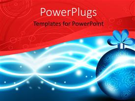 PowerPlugs: PowerPoint template with a pretty blue Christmas ornament on a red and blue background