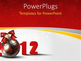 PowerPlugs: PowerPoint template with christmas and new year depiction with beautiful ornament and ribbon