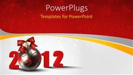 PowerPoint template displaying christmas and new year depiction with beautiful ornament and ribbon