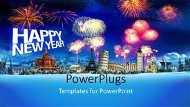 PowerPlugs: PowerPoint template with 3D raphics of lots of fireworks and text that spells out the words'happy new year'
