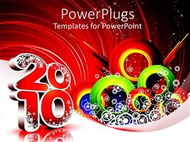PowerPlugs: PowerPoint template with new year decoration with snow flakes and reflection in background