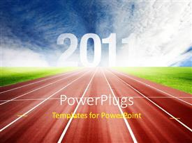 PowerPlugs: PowerPoint template with new year depiction with athletic track between green field