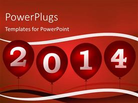 PowerPlugs: PowerPoint template with new year depiction with balloons in sky over red surface