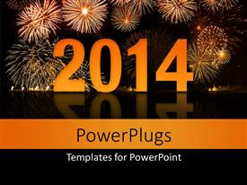 PowerPoint template displaying new year depiction with beautiful fireworks in night sky