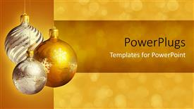 PowerPoint template displaying three  silver and gold colored ornaments over a blurry background