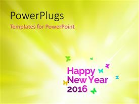 PowerPoint template displaying new year depiction withcolorful butterflies on green background