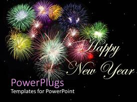 PowerPoint template displaying new year depiction with colorful firework display in night sky
