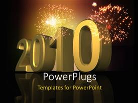 PowerPlugs: PowerPoint template with new year depiction with fireworks in night sky and 3D year 2010