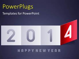 PowerPlugs: PowerPoint template with new year depiction with flipping calendar on grey surface