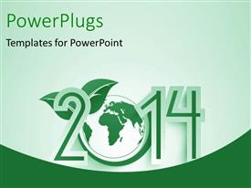 PowerPlugs: PowerPoint template with new year depiction with globe and green leaf