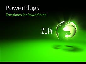 PowerPlugs: PowerPoint template with new year depiction with glowing earth globe on green surface