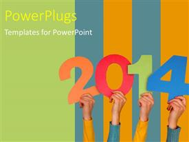 PowerPlugs: PowerPoint template with new year depiction with hands holding year numbers on color bars