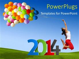 PowerPlugs: PowerPoint template with new year depiction with happy young lady holding colorful balloons with rope